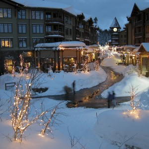 Village at Mammoth Mall Night Winter